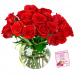 Red Rose Vase - 18 Red Roses in Vase & Card