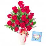 Enriched Red Vase - 30 Red Roses in Vase & Card