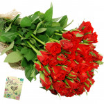 Hundred Roses - 100 Red Roses Bunch & Card