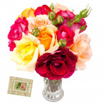 Twelve Mix Vase - 12 Mix Roses in Vase & Card