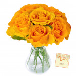 Contented Vase - 6 Yellow Roses in Vase & Card