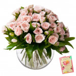 Cheering You - 50 Pink Roses in Vase & Card