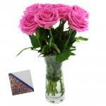 Gleeful - 10 Pink Roses in Vase & Card