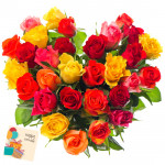 Mix Heart Basket - 50 Mix Roses (Red, Pink, Yellow) Heart Shaped Arrangement in Basket & Card