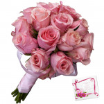 Glad with Pink - 15 Pink Roses Bunch & Card