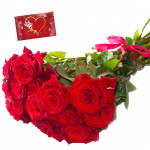 Fortune Token - 45 Red roses Bunch & Card