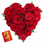 Heart of Rose - 25 Red Roses Heart Shape Arrangement in Basket & Card