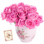 Ready to Surprise - 18 Pink Roses in Vase & Card