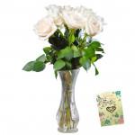 White Vase - 12 White Roses in Vase & Card