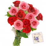 Red N Pink Roses - 18 Red and Pink Roses Bunch & Card