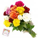 Sense of Trust - 12 Mix Roses Bunch & Card