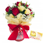 Red N White Vase - 10 Red & White Roses in Vase  & Card