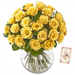 Yellow Rose Gift - 50 Yellow Roses in Vase & Card