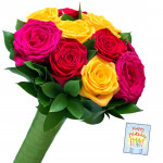 Charming Mix - 6 Mix Roses Bunch & Card