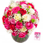 Mix Luxury - 100 Mix Roses in Vase & Card