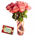 Amused By Love - 12 Pink Roses in Vase & Card