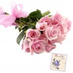 Reveling Joy - 10 Pink Roses Bunch & Card
