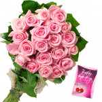 Relishing Roses - 25 Pink Roses Bunch & Card