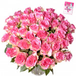 Glory of Pink - 100 Pink Roses in Vase & Card