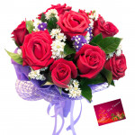 Red Bunch Delight - 10 Red Roses Bunch & Card