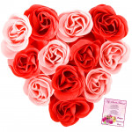 Red Heart Roses - 20 Red & Pink Roses Heart Shape Arrangement & Card