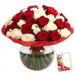 Red N White Rose Vase - 36 Red & White Roses in Vase & Card