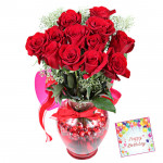 Red Roses in Vase - 15 Red Roses in Vase & Card