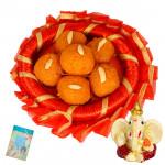 Ganesha Blessing - Kaanpuri Ladoo 250 gms, Ganesh Idol and Card