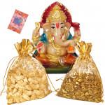 Magic of Ganesha - Cashew, Raisins in Potali, Ganesh Idol and Card