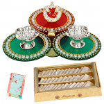 Ganapati Delight - Ganesh Pooja Thali, Kaju Katli 250 gms and Card