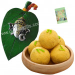 Ganesha Laddoo Treat - Besan Laddoo 250 gms, Ganesh Ji On Leaf and Card