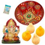 Thali and Modak - Meenakari Thali 6 inch, Modak, Ganesh Idol and Card