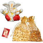 Ganesha Dryfruit Delight - Cashew, Almond in Potali, Ganesh Idol and Card