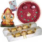 Ganesha Chocolate Delight - 2 Ferrero Rocher 5 pcs, Pooja Thali (M), Ganesh Idol and Card