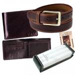Men's Gift Hamper - Wallet, Belt, Set of 3 Handkerchief and Card