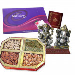 Wedding Special Hamper - Assorted Dryfruits 400 gms, Celebrations 121 gms, Laxmi Ganesh Idol and Card