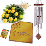 Wedding Special - 30 yellow roses in bunch, Celebrations, Wind Chim (Silver) and card