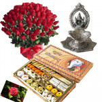 Wedding Gifts - 50 red roses in basket, Kaju Mix, Ganesh Diya with card