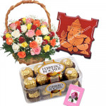 Wedding Delight - 30 mix roses in basket, Ferrero Rocher 16 pcs, Ganesha on wooden Slab and Card