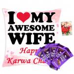 Choco Fast - Happy Karwa Chauth Cushion, 5 Dairy Milk and Card