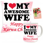 Fast Special - Happy Karwa Chauth Cushion, Happy Karwa Chauth Mug and Card