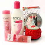 Ponds Love - Ponds Triple Vitamin Moisturizing Lotion, Ponds White Beauty Pearl Cleansing Gel Face Wash, Ponds Dream Flower Fragrant Talc, Musical Globe with Heart and Card