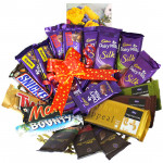 Choco Fill Fast - 4 Dairy Milk Silk, 3 Temptations, 3 Bournville, 2 Dairy Milk Fruit n Nut, 2 Dairy Milk Crackle, Snickers, Mars, Twix, Bounty, 5 Dairy Milk and Card
