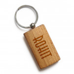 Rounded Rectangualr Wooden Keychain & Card