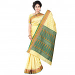 Light Yellow, Blue and Gold Silk Saree