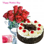 Gift for Mom - Bunch of 12 Red Roses, Black Forest Cake 1/2 kg and Card