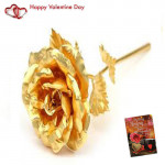 Golden Rose & Valentine Greeting Card