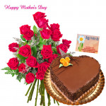 Gracious Love of Mom - Bunch of 25 Red Roses, Chocolate Heart Cake 1 kg and Card