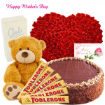 """Grand Combination - 100 Red Roses Heart, Chocolate Cake 1 kg, Charlie White , Teddy 12"""", 6 Toblerone and Card"""