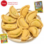 Holi Sweet Mawa Gujiya, Herbal Gulal and Greeting Card